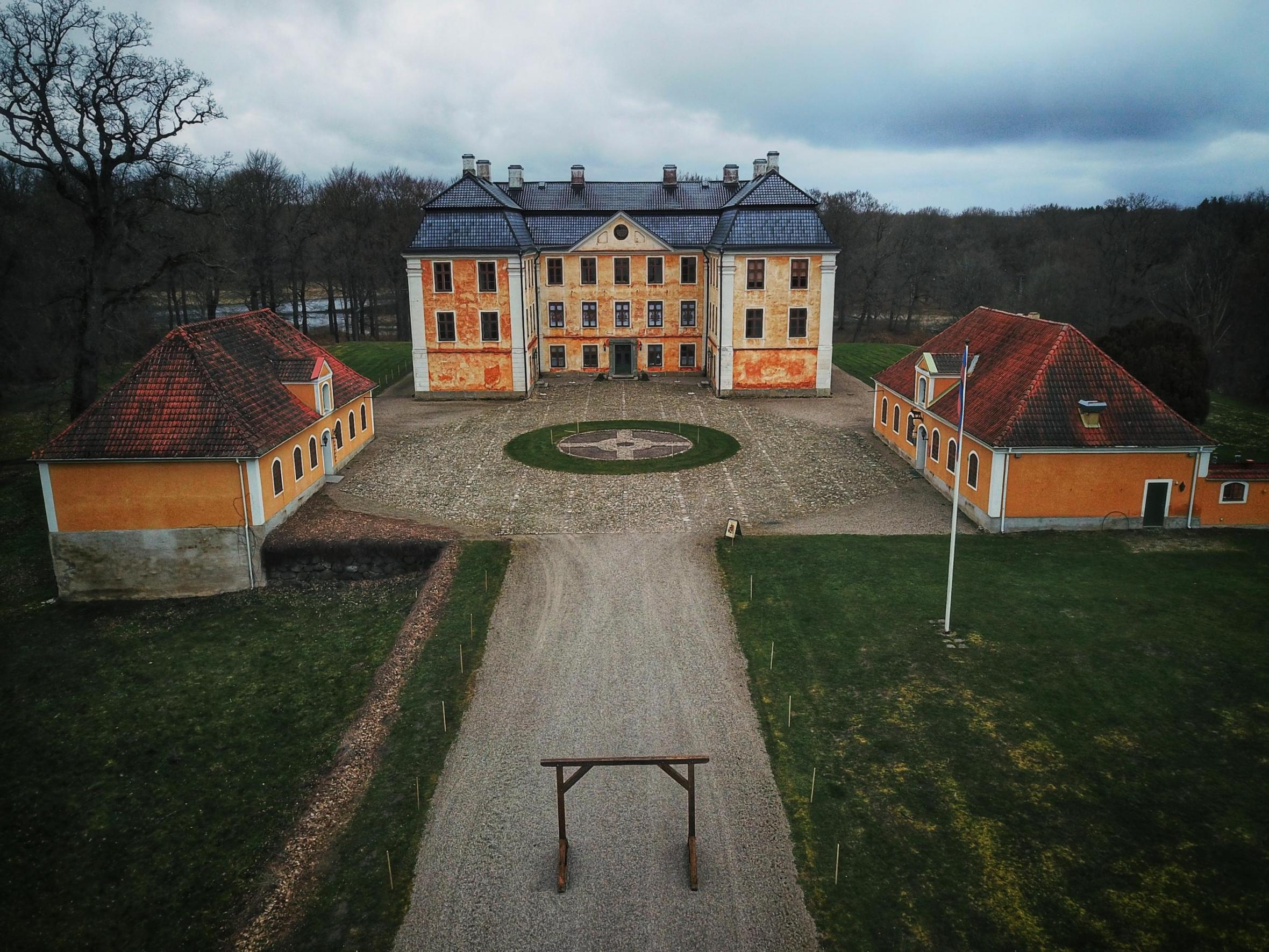 A top view of Christinehof castle on a cloudy day
