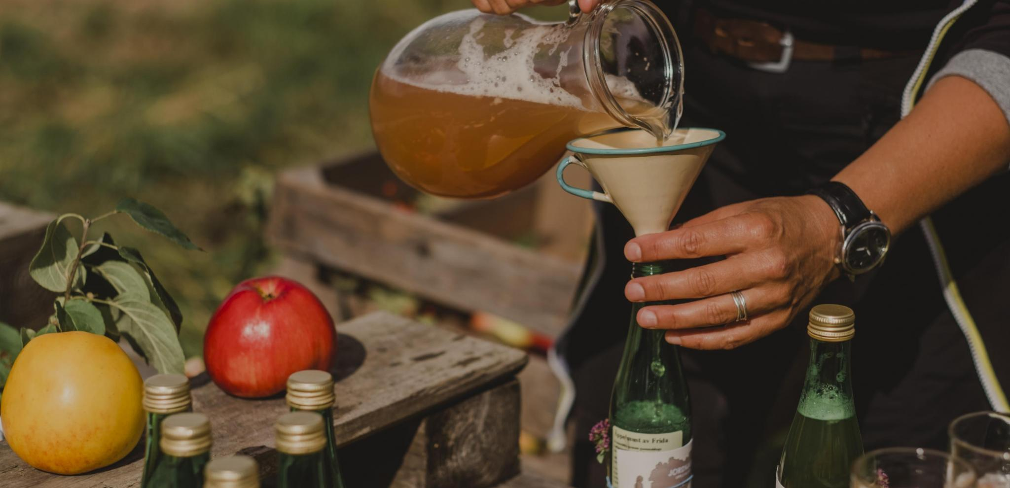 A person pouring apple juice through a funnel to a glass bottle