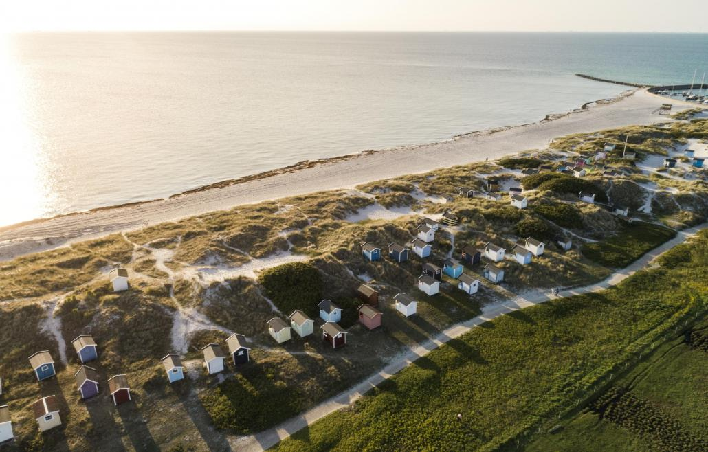 View of beach cabins from above at Skanör beach early in the morning